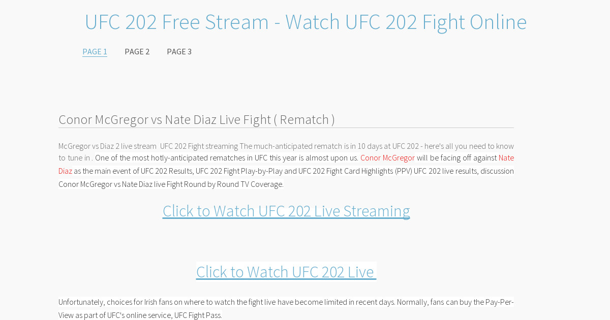 Diaz Mcgregor Fight Stream Free Ufc 202 Full Fight Video Replay Highlights Tv Coverage H2h